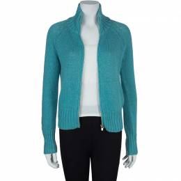 Loro Piana Turquoise Blue Zip Front Cardigan S 59681