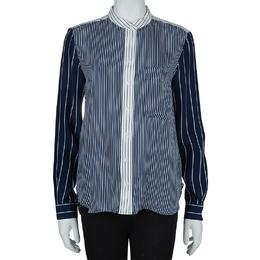 Joseph Blue and White Striped Long Sleeve Silk Shirt S 59687