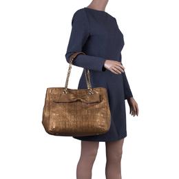 Carolina Herrera Gold Monogram Leather Audrey Tote Bag 42740
