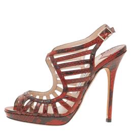 Jimmy Choo Red Python Keenan Python Platform Sandals Size 37.5 56768