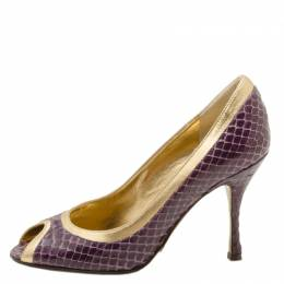 Dolce&Gabbana Purple and Gold Embossed Peep Toe Pumps Size 35 36726