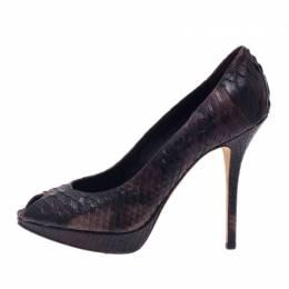 Dior Black Python Miss Dior Peep Toe Pumps Size 38 39992