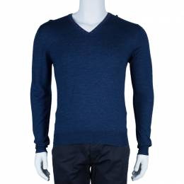 Etro Men's Blue Knit V-Neck Sweater M 44168