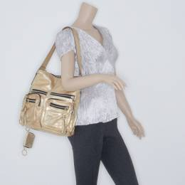 Chloe Metallic Gold Large Shoulder Bag