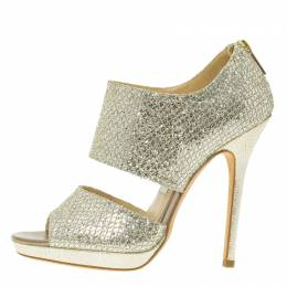 Jimmy Choo Silver Glitter Private Platform Sandals Size 36.5 56506