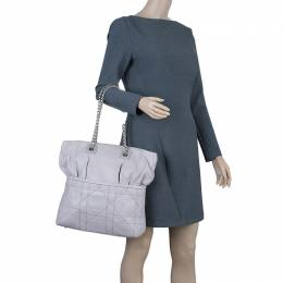 Dior Pale Grey Cannage Quilted Leather So Dior Tote Bag 42349