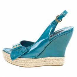 Louis Vuitton Blue Patent Espadrilles Slingback Wedges Size 37.5 20549
