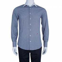 Ch Carolina Herrera Men's Blue and White Striped Shirt S 45783