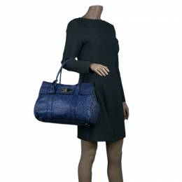 Mulberry Blue Ostrich Leather Bayswater Satchel Bag 44843