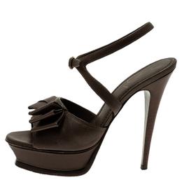 Saint Laurent Brown Leather Y-Bow Platform Sandals Size 38 53904