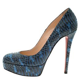 Christian Louboutin Blue Python Bianca Platform Pumps Size 37.5 57173