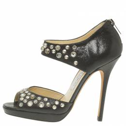 Jimmy Choo Black Studded Leather Bonnie Back Zip Platform Sandals Size 36.5 57177
