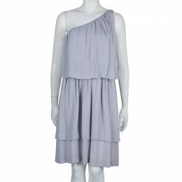 Chloe Grey Silk One Shoulder Tiered Dress S