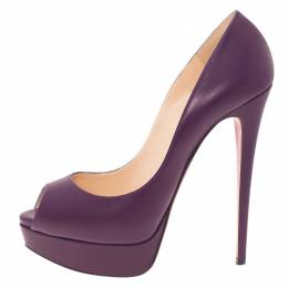 Christian Louboutin Purple Leather Lady Peep Platform Pumps Size 40 42523