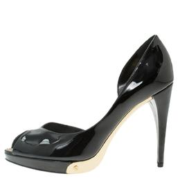 Louis Vuitton Black Patent Peep Toe D'Orsay Pumps Size 36.5 56382