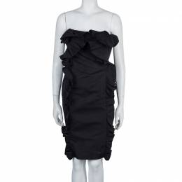 Giambattista Valli Black Ruffle Dress XXS
