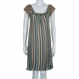 M Missoni Multicolor Lurex Knit Fringed Sleeve Dress S 57166