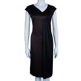 Max Mara Brown/Black Silk Sleeveless Dress M/L 45801