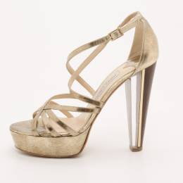 Jimmy Choo Gold Platform Sandals Size 37.5 37033