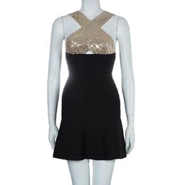 Herve Leger Black Crossover Sequin Embellished Bandage Dress XS 55978