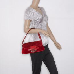 Tod's Red Suede Shoulder Bag 37450