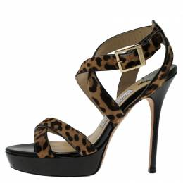 Jimmy Choo Leopard Pony Hair Vamp Platform Sandals Size 37 58719