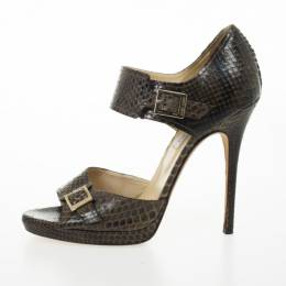 Jimmy Choo Brown Python Quaker Buckle Sandals Size 40 25266