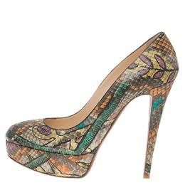 Christian Louboutin Multicolor Python Bianca Platform Pumps Size 37.5 56813