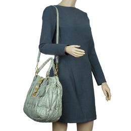 Miu Miu Green Matelasse Lux Leather Large Shoulder Bag 52279