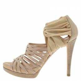 Fendi Beige Fabric and Suede Strappy Platform Sandals Size 37 57199
