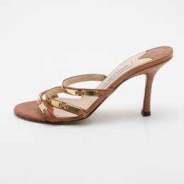 Jimmy Choo Brown Camel Leather 'Verity' Strap Sandals Size 36.5 36529