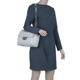 Saint Laurent White Crocodile-Embossed Leather Flap Bag 4750