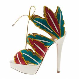 Charlotte Olympia Multicolor Leather Cherokee Platform Sandals Size 38 3967
