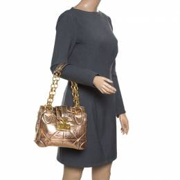 Marc Jacobs Rose Gold Quilted Leather Shoulder Bag 157923
