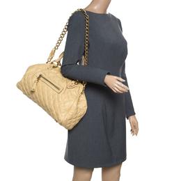Marc Jacobs Cream Quilted Leather Stam Shoulder Bag 157918