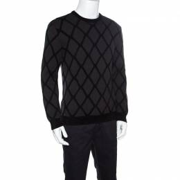 Giorgio Armani Dark Grey Diamond Patterned Wool Crew Neck Sweater L