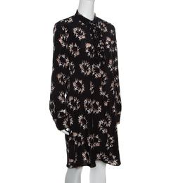 Rochas Black Ballerina Printed Silk Long Sleeve Shirt Dress L 158080