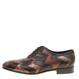 Salvatore Ferragamo Two Tone Brown Ostrich and Calf Leather Gris Oxfords Size 43.5 158809