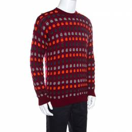 Giorgio Armani Maroon Textured Dotted Sweater M