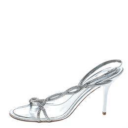 Rene Caovilla Metallic Silver Leather Crystal Embellished Open Toe Slingback Sandals Size 38 159136