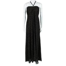 Ralph Lauren Black Silk Clip Dot Ruched Detail Strapless Dress L 113001