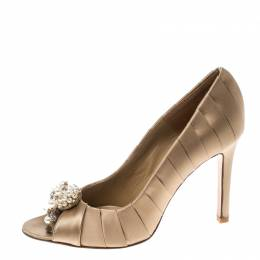Valentino Beige Pleated Satin Pearl and Crystal Brooch Embellished Peep Toe Pumps Size 36.5 159349