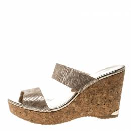 Jimmy Choo Metallic Beige Python Print Suede Parker Cork Wedge Sandals Size 41 161136