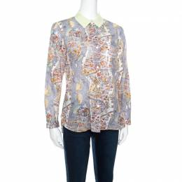 Carven Multicolor Paris Map Print Cotton Contrast Collar Long Sleeve Shirt M
