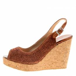 Jimmy Choo Metallic Pop Orange Lurex Prova Slingback Cork Wedge Sandals Size 41 161161