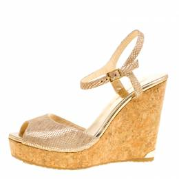 Jimmy Choo Metallic Beige Python Print Suede Perla Cork Wedge Ankle Strap Sandals Size 41 161164