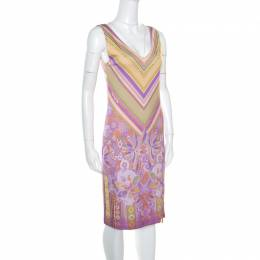 Roberto Cavalli Class Purple Printed V-Neck Sleeveless Dress M