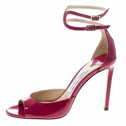 Jimmy Choo Cerise Pink Patent Leather Lane Ankle Strap Peep Toe Sandals Size 40 162661