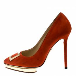 Charlotte Olympia Red Suede Fairest Of Them All Platform Pumps Size 36.5 162199