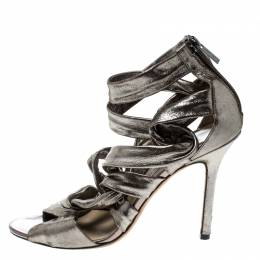 Jimmy Choo Metallic Grey Leather Ankle Strap Sandals Size 38 162198